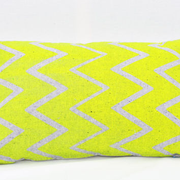 "Truly Outrageous - neon yellow chevron organic screen printed pillow 14"" x 24"""