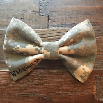 Military camo corner nametape bow