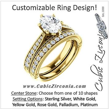 CZ Wedding Set, Style 04-50 feat The Claudia Jeanine Engagement Ring (Customizable Round Pave)