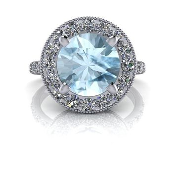 Round Aquamarine Halo Engagement Ring - Celestial Premier Moissanite - Customize Your Ring