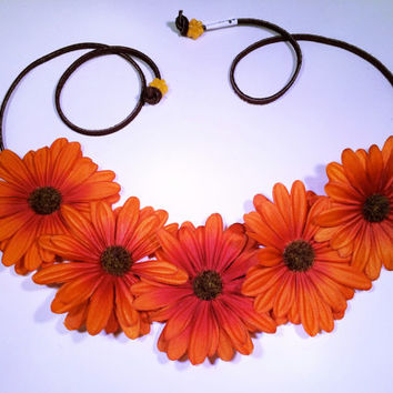 Orange Daisy Flower Headband, Flower Crown, Flower Halo, Festival Wear, EDC, Ultra Music Festival, Rave