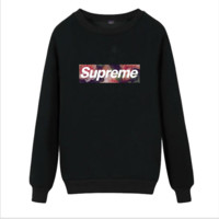Supreme Round collar female loose couple costume Sweater Rose Black