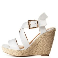 Strappy Espadrille Wedge Sandals by Charlotte Russe - White
