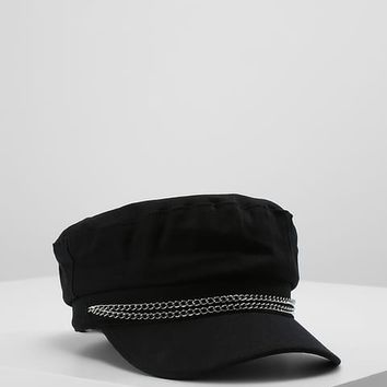 CHAIN DETAIL WASHED BAKER BOY CAP - Mössa - black - Zalando.se