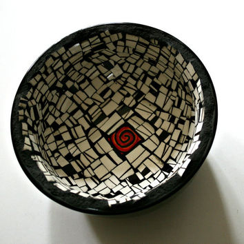 Etsy Mosaic Black and White Bowl - Black and White Broken China, Black Bowl, Decorative Bowl, Handmade Mosaic Bowl, Orange Swirl