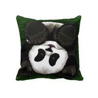 Cute Baby Panda Rolling in the Grass Pillows from Zazzle.com
