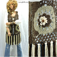 Crocheted hippie vest S / M upcycled brown fringed sweater vest long boho festival vest SunnyBohoVintage