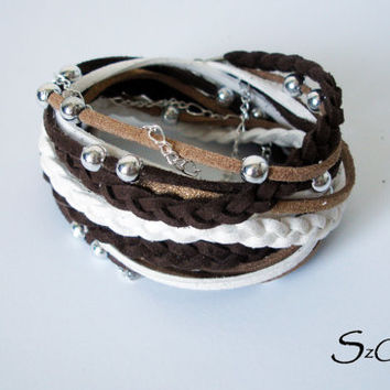 Brown - White - Tan Bohemian Suede cord  bracelet - with silver accent