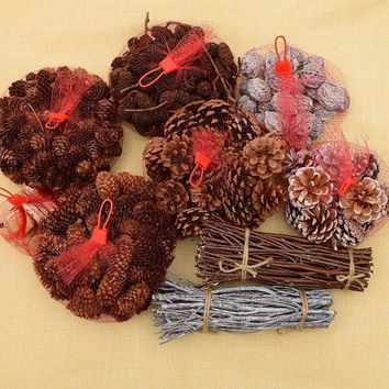 Pinecone decoration dried flowers handmade creative DIY forest material package home decoration dry branch scales pine cones