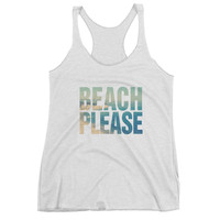 Beach Please Women's Vintage Tri-Blend Racerback Tank Top