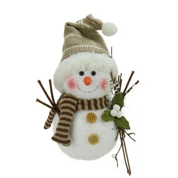 """10"""" Alpine Chic Snowman with Twigs and Mistletoe Christmas Decoration"""