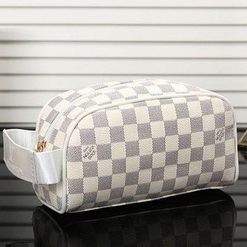 LV Louis Vuitton Women's Fashion Shopping Cosmetic Bag F/A White Plaid