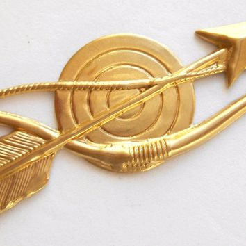 One Raw Brass stamping Bow and Arrow, Charm, Pendant, Component, Connector, 60 x 21mm, made in the USA, C3501