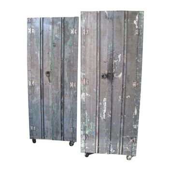 Pre-owned Vintage Industrial Metal Cabinets - A Pair