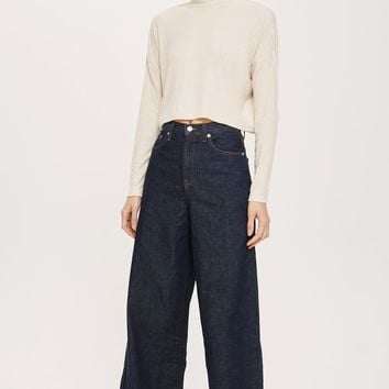 Rib Crop Funnel Neck Top