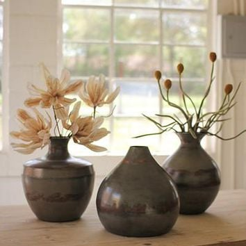 Set of 3 Vases With Raw Metal And Copper Detail