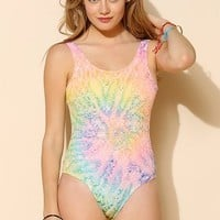 UNIF Tie-Dye Crochet One-Piece Swimsuit - Urban Outfitters