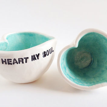 Set of 2 Heart Ceramic Salt Cellar - Jewelry Holders - Wedding Gifts - Couple Gift Idea - Ceramics and Pottery