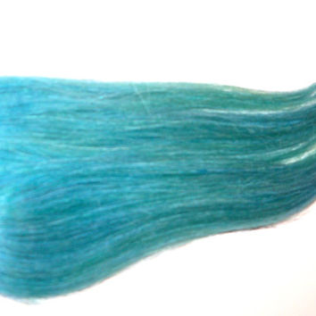 2 Aqua Blue Green Teal Turquoise Blue Clip in 100% Human Hair Extensions