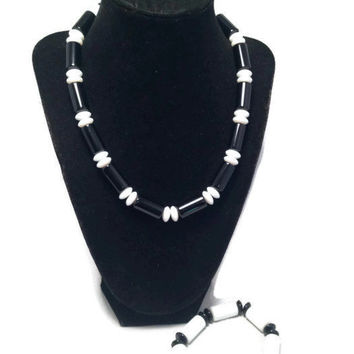 Black and White Necklace Bracelet