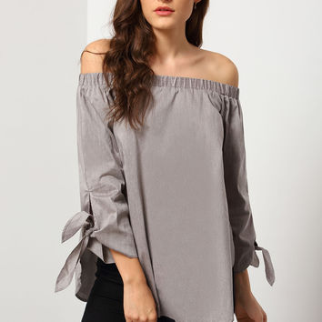 Grey Long Sleeve Off The Shoulder Knotted Blouse | MakeMeChic.COM