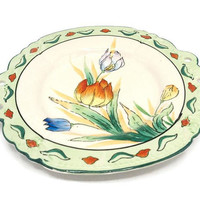 Hand Painted Tulip Decorative Cake Serving Plate