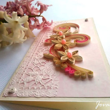 Romantic handmade quilling card/Love you/Wedding card/Anniversary card/Birthday card/Engagament card/Quilling card