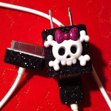 iPhone Charger (customized glitter charger with skull)