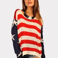 Red White And Blue Sweater - Red/Blue at Necessary Clothing