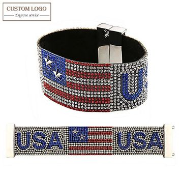 AZIZ BEKKAOUI Magnetic Wide Bracelet Handmade Full Rhinestone American Flag Charm Bracelets For Women Punk Rock Men Jewelry