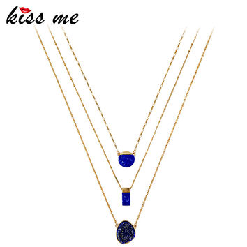 KISS ME Imitation Sapphire Multi Layer Necklace Chic Removable Geometric Pendant Necklace Brand Jewelry Accessories