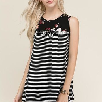 (pre-order) Black Striped Floral Sleeveless Top