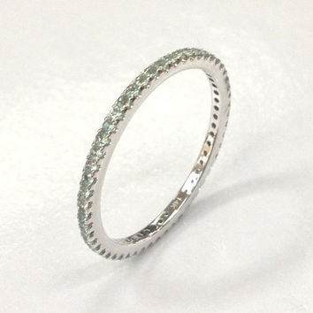 Alexandrite Wedding Ring 14K White Gold,Round Cut Green Alexandrites Full Eternity Band,Anniversary Ring,Fashion Fine Ring,Stackable,Thin