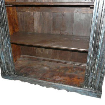 Wooden Bookcase Rustic Hand Carved Jaipur Patina Bookshelf Indian Furniture 82x52x20