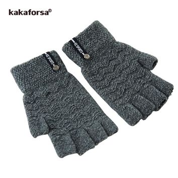 Kakaforsa Men Black Half Finger Knitted Gloves Fashion Winter Warm Soft Short Mitten Thick Fingerless Glove with Metal Star