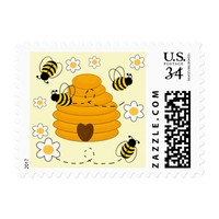 Honey Bumblebee Hive Yellow Daisy Floral Flower Postage