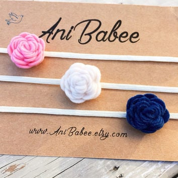 Navy Blue Felt Flower Headband Set, Baby Headband Set, Felt Headbands, White Felt Flowers, Pink Felt Flower Headband, Three Pack