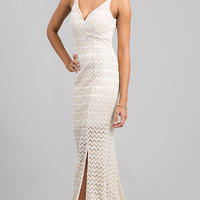 Floor Length V-Neck Lace Dress