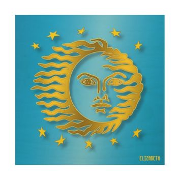 Golden Embossed Sun With Stars And Shadows Wood Wall Art