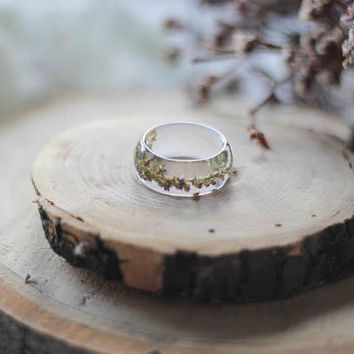 Heather Resin Ring, Clear Transparent Resin Ring, Terrarium Jewelry, Forest Ring, Real Flower Ring, Preserved Flower Jewelry, Nature Ring