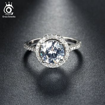 ORSA JEWELS New Arrival Luxury 1.4ct CZ Crystal Wedding Band Engagement Rings for Women Micro Paved 36pcs Austrian Zircon OR105