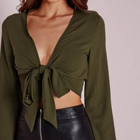 Missguided - Tie Front Cropped Blouse Khaki