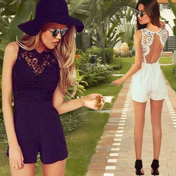 2015 New Fashion Romper Women Clothing Overalls Sexy Summer Sleeveless Halter Jumpsuit [4905532292]