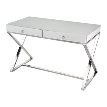 Maizie White Glass Desk