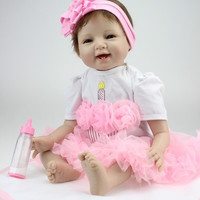 "22inches Lifelike Silicone Vinyl Reborn Baby Doll Toy Handmade 55cm PP Cotton Body (Size: 22"") = 1930243012"