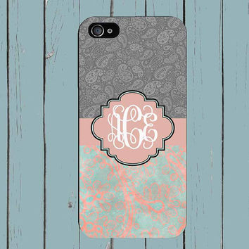 iPhone 6 Damask Orange Grey iPhone 5s Case iPhone 5 Case Monogram  iPhone 4 Case iPhone 4S Personlized Case iPhone 5C Case 2001