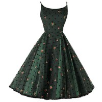 Vintage 1950's Jonny Herbert Green Tulle Embroidered Dress