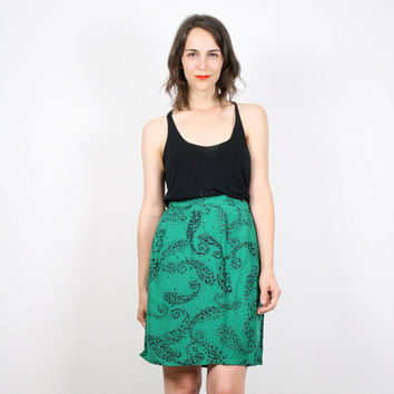 Vintage Kelly Green Black Skirt Midi Skirt Mini Skirt Tulip Skirt Paisley Secretary Dress Skirt Knee Length Skirt Pencil Skirt 80s M Medium