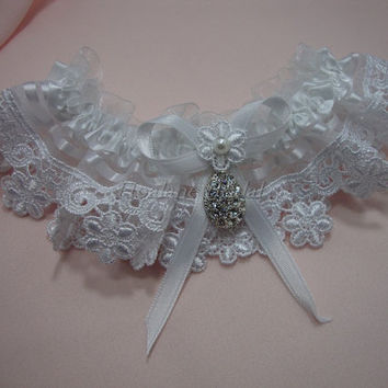 Lace garter, white garter with Rhinestone