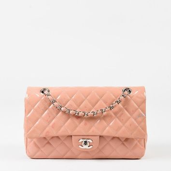 "Chanel Pink Patent Quilted ""Medium Double Flap"" Shoulder Bag"